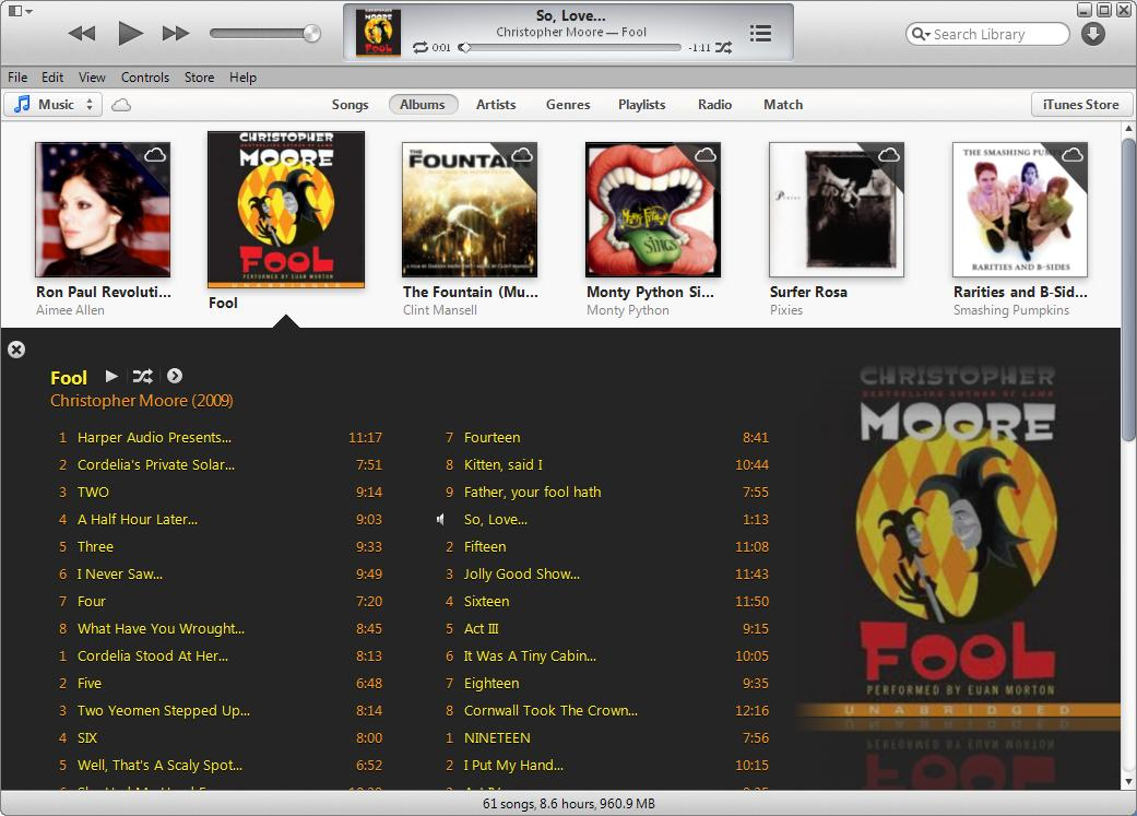 iTunes Music libary showing Fool audio book expanded to show tracks